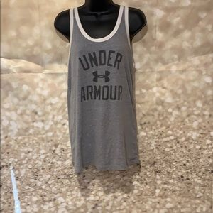 Women's gray with white tank top under armour